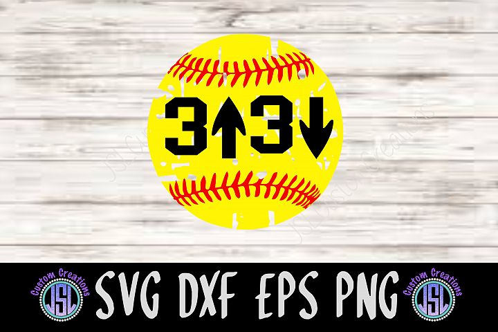 3 Up 3 Down| Softball Design | SVG DXF EPS PNG Cut FIle
