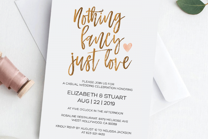 Gold Nothing fancy just love wedding invitation Funny