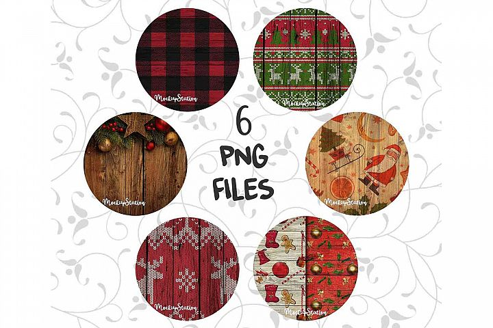 Christmas Sublimation Wood Circle Background PNG Bundle