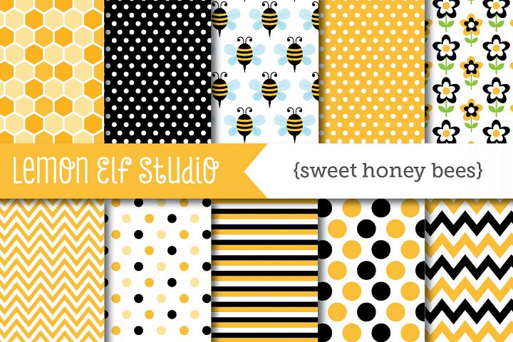 Sweet Honey Bees-Digital Paper (LES.DP54)