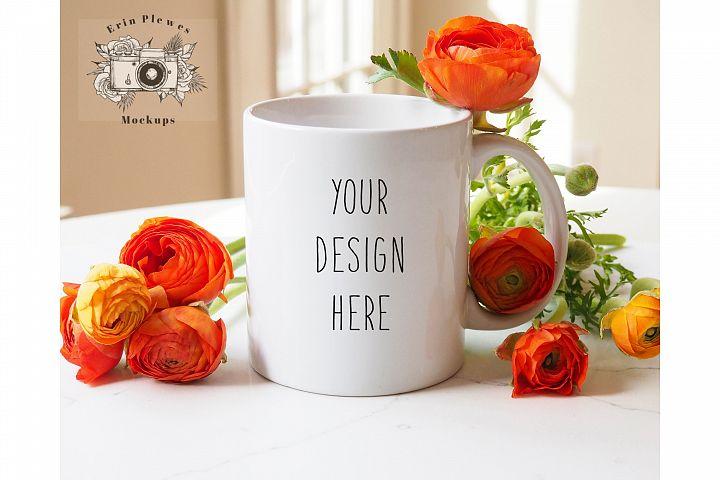 White Coffee Mug Mockup - 11oz Feminine Coffee Cup Mock-up