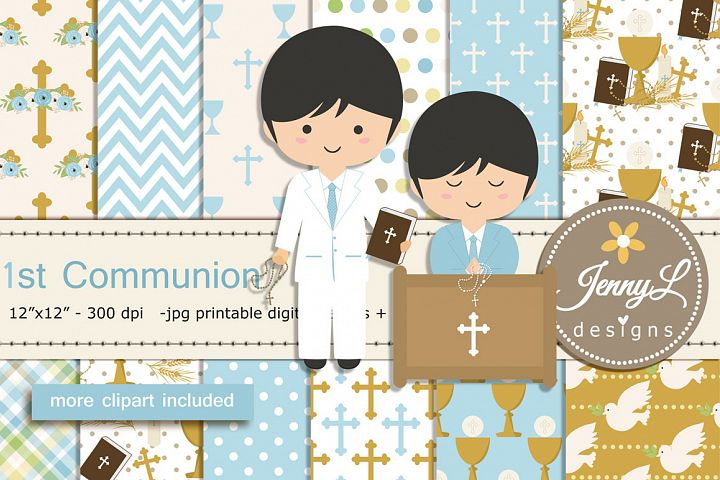 1st Communion Confirmation Boy Digital Papers and Bible Clip