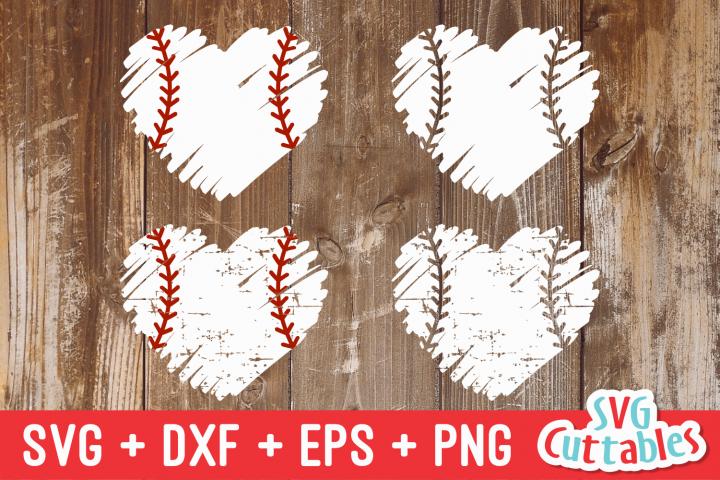 Baseball Softball Heart Brush Stroke   svg Cut File