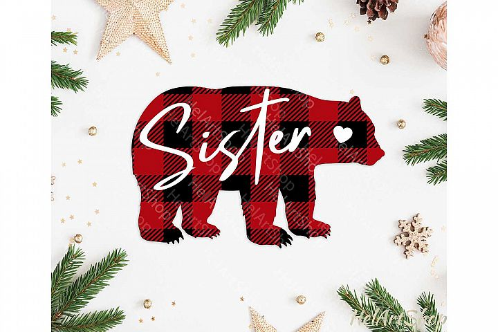 Sister Bear svg, Buffalo plaid svg