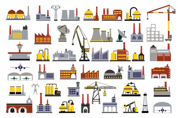 Industrial icon vector set