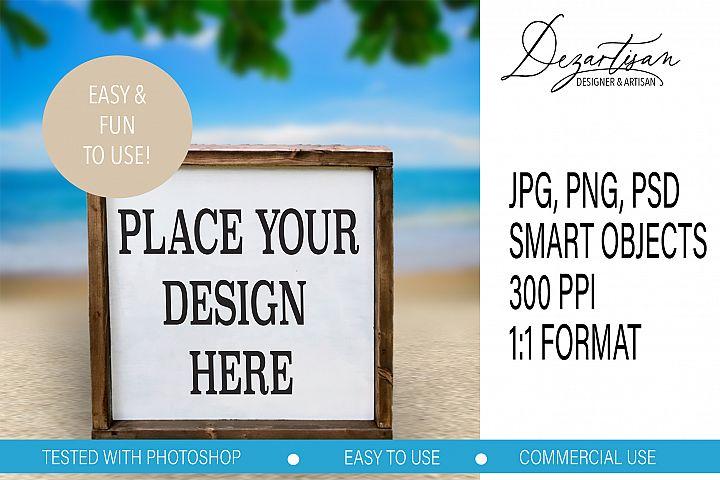 Beach Summer Square Wood Sign Mock up Bundle PSD JPG PNG