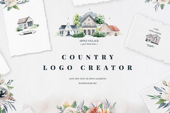 Country Logo Creator, watercolor houses, house, watercolor
