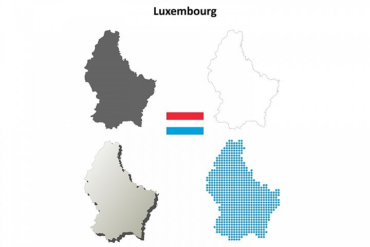 Luxembourg outline map set