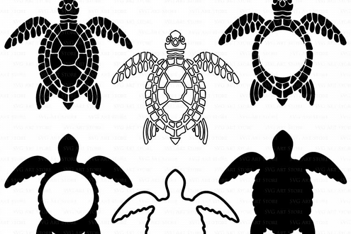 Sea Turtle SVG Files - swimming turtle, sea turtle monogram cut files for Cricut and Silhouette - ocean SVG, dxf, png, jpg files Included