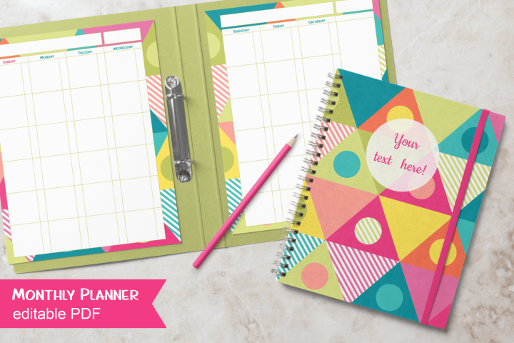 Bright Triangles Undated Planner Letter Size Editable PDF