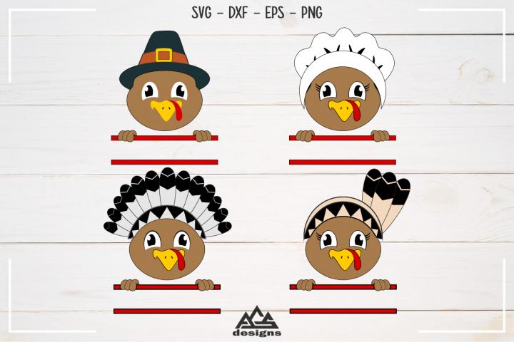 Turkey Pilgrim Thanksgiving Split Frame Svg Design