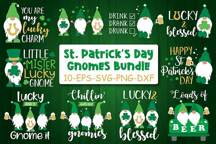 St Patricks Day Gnome Bundle Svg