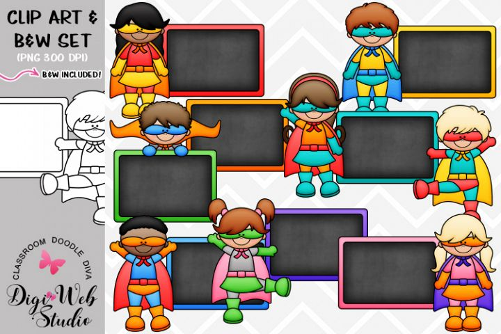 Clip Art / Illustrations -Colorful Chalkboard Superhero Kids