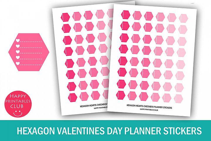 Hexagon Valentines Day Planner Stickers- Hexagon Checkbox