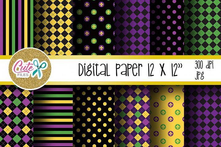 Dark mardi gras paper, carnival digital paper