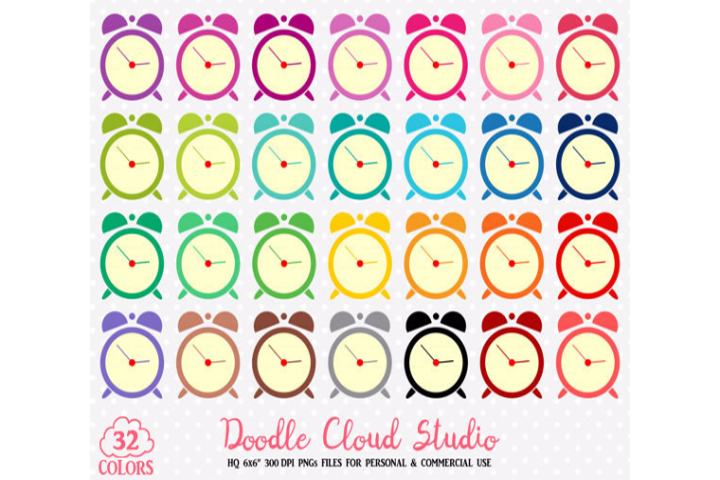 32 Colorful Alarm Clock Cute Clipart Rainbow Time Clock Illustrations Stickers Png With Transparent Background For Personal Commercial Use