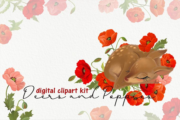 Cute deers and poppies flower clipart kit