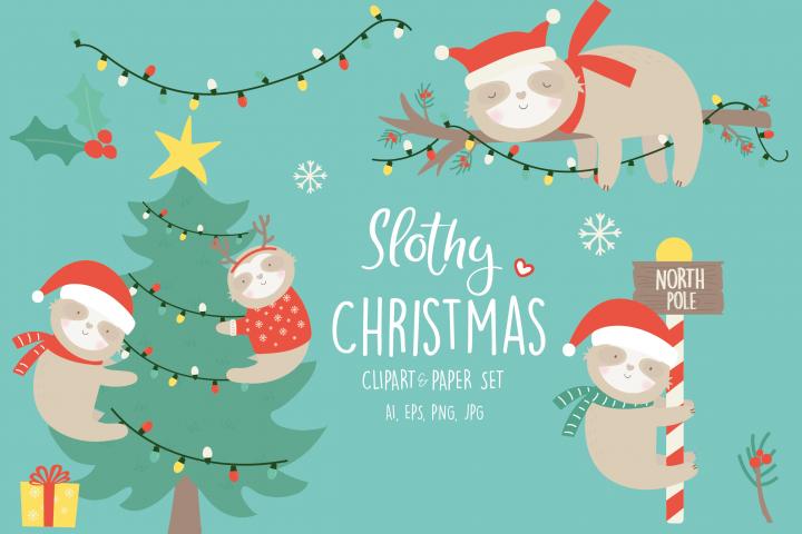 ON SALE - NOW $4 -Slothy christmas set