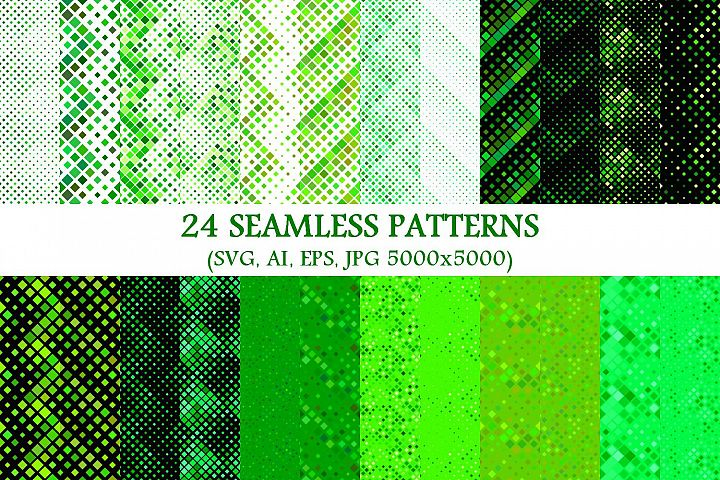 24 Seamless Green Square Patterns