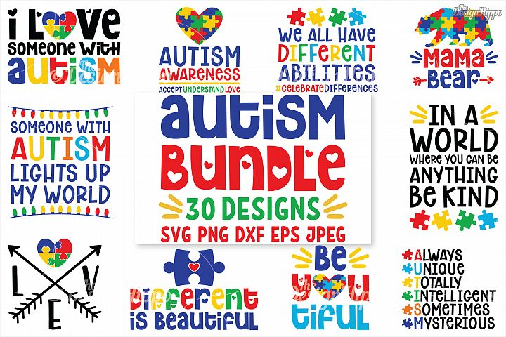 Autism SVG Bundle, 30 Designs, DXF PNG Cricut Cutting Files