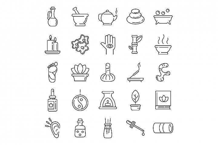 Ayurveda icons set, outline style