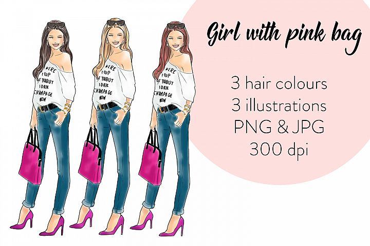 Girl with Pink Bag watercolor fashion illustration clipart