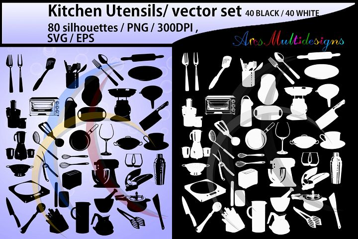 Kitchen Utensils silhouette svg / Kitchen Utensils clipart / Kitchen Utensil for scrapbook and card making /vector / EPS / PNG / craft files