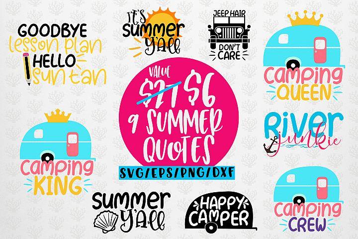 Summer Vibes Bundles - 9 Svg EPS DXF PNG Cut File