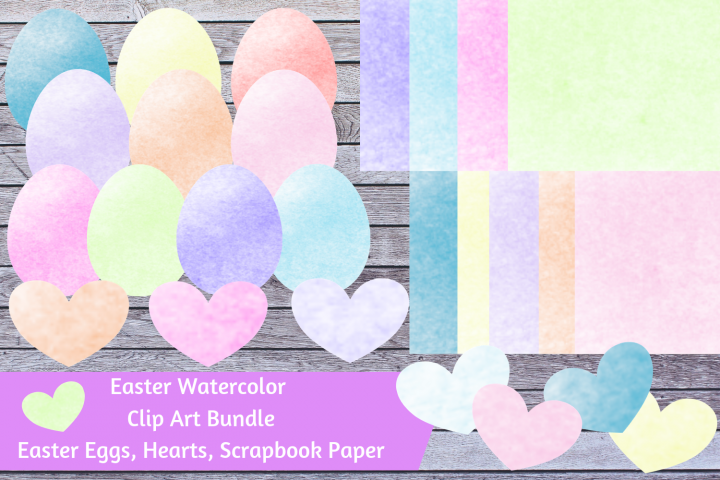 Watercolor Easter Bundle - Easter Eggs, Hearts, Paper