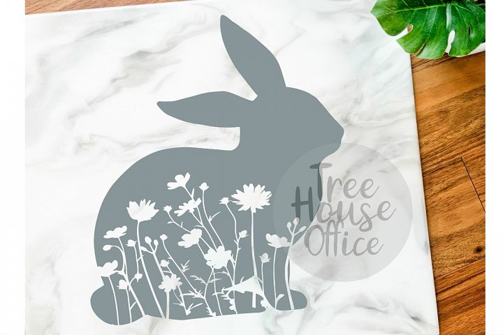 Floral Bunny Mandala Forest Zentangle Flower SVG/DXF/PNG