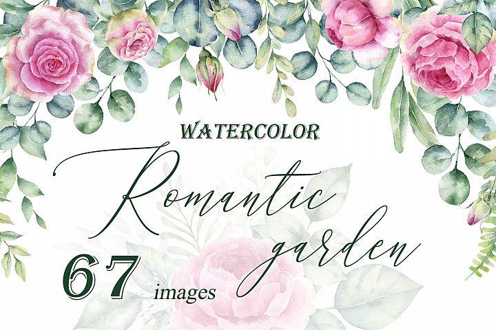 Romantic Garden. Watercolor clipart collection.