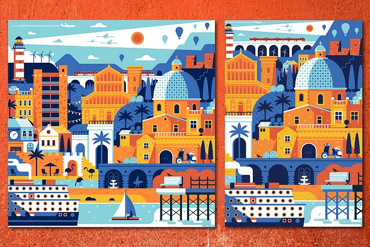Mediterranean Sea Town Travel Poster
