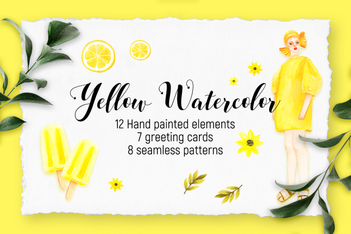 Watercolor hand painted Yellow Set