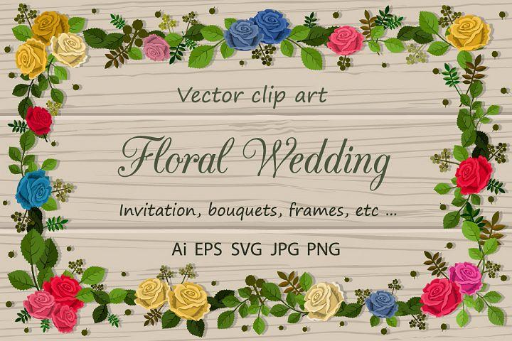 Floral Wedding. Vector clip art