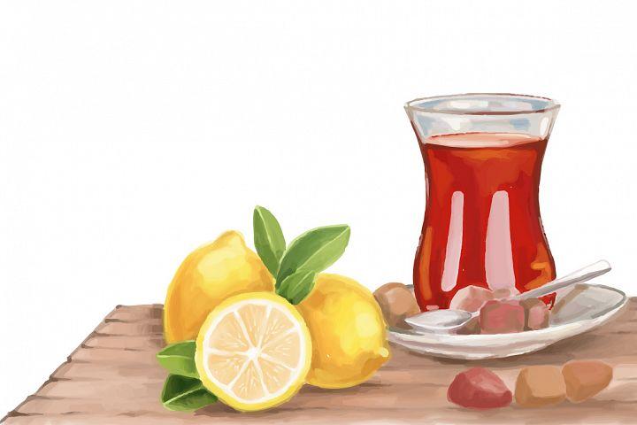 Turkish tea and lemon hand painting vector