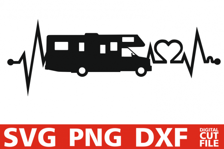 Caravan svg, Heart Beat svg, Camping EKG, Motor Home vector