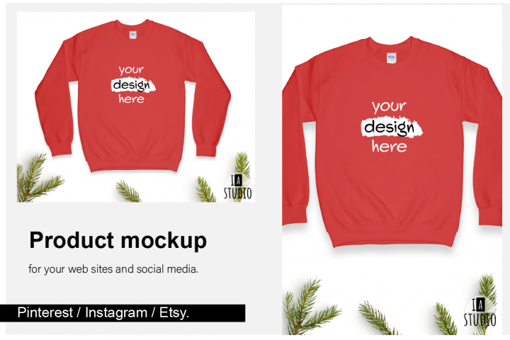 Christmas Sweatshirt Mockup / Gildan 18000 Red / Flat Lay