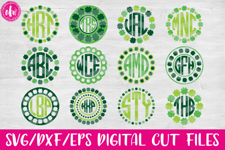 Shamrock Monogram Bundle - SVG, DXF, EPS Cut Files