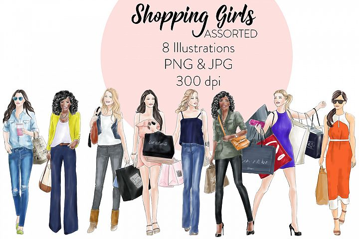 Watercolour fashion illustration clipart Shopping Girls - Assorted