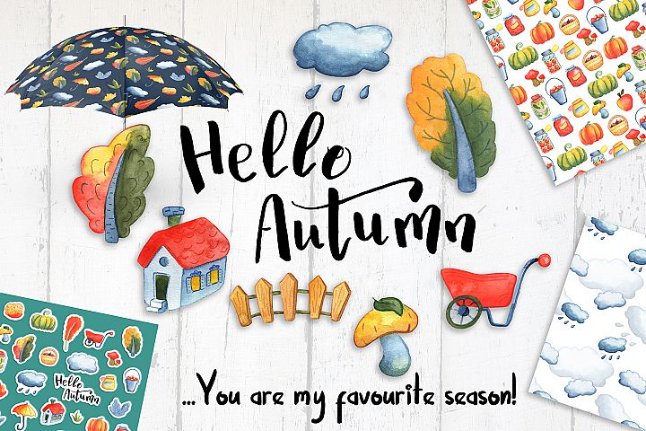Hello Autumn Watercolor Stickers And Seamless Patterns