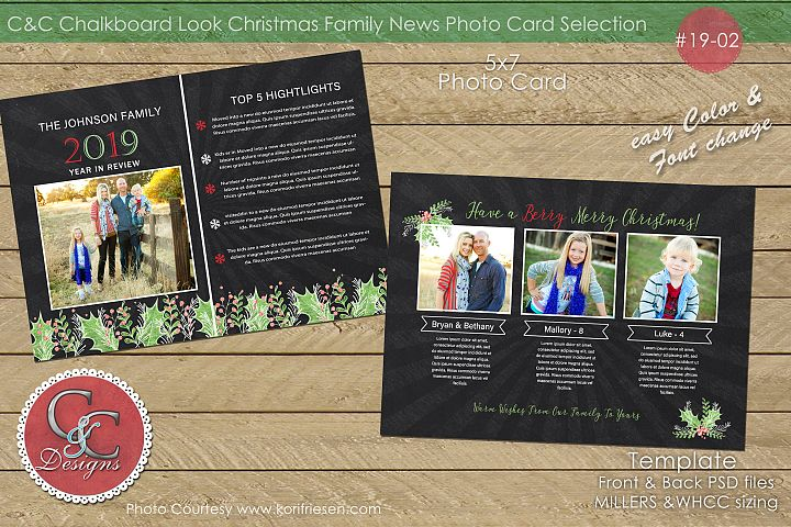 Chalkboard Christmas Year End Review Photo Card