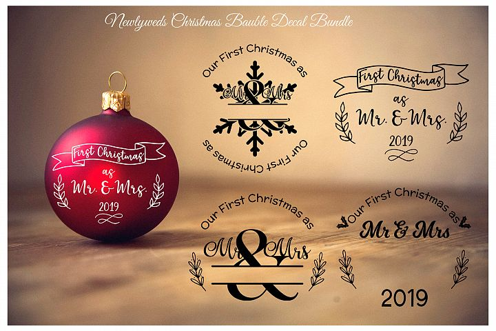 1st Christmas as Mr and Mrs bauble decal in SVG,PNG,DXF,EPS
