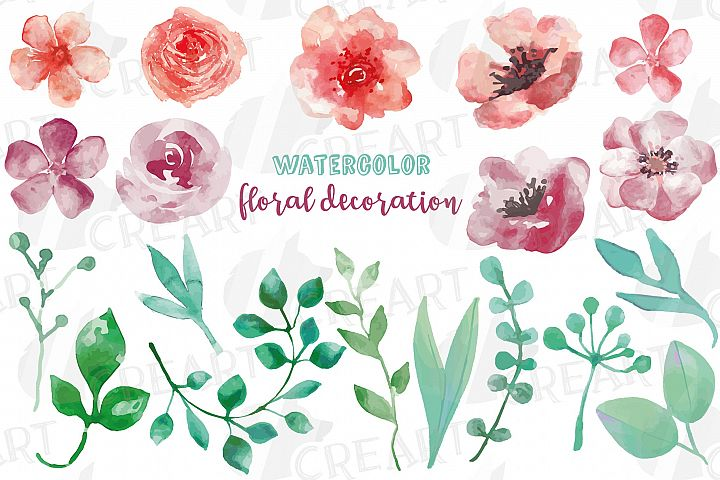 Burgundy and coral pink watercolor floral wedding clip art,