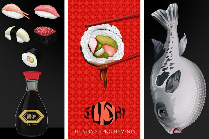 Japanese Sushi Illustrated Graphics and Digital Paper Set