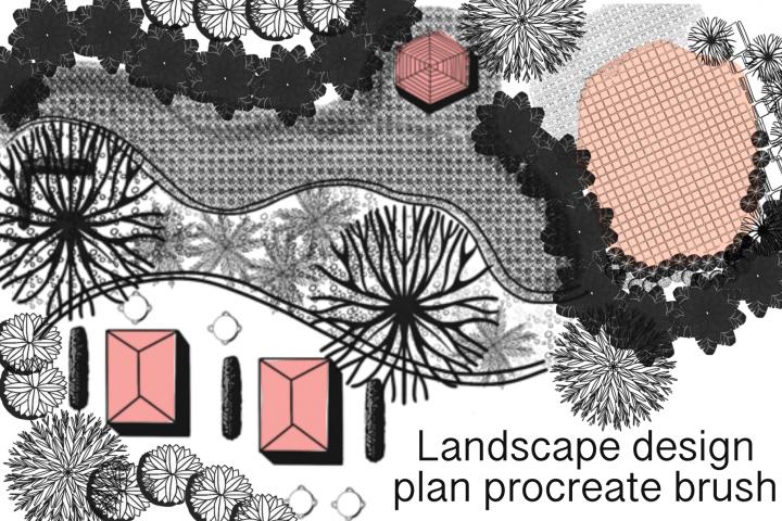 Landscape design plan procreate brush