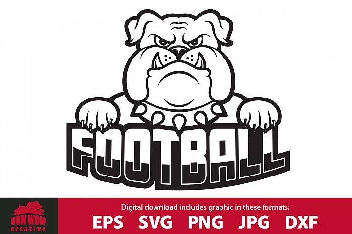 Bulldog Football School Mascot SVG, EPS, JPG, PNG, DXF