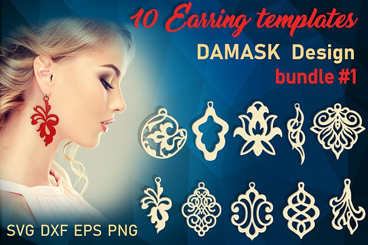 10 Damask earrings svg Leather earrings svg Necklace svg