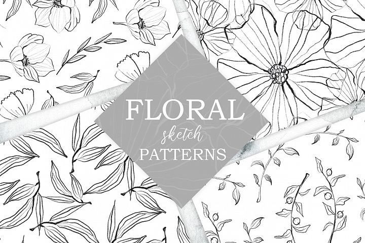 Flower and leaves sketch patterns, Seamless backgrounds