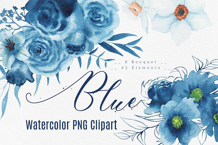 Blue watercolor floral clip art with bouquets