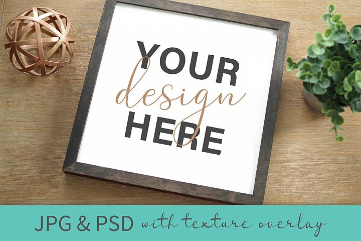 Reverse Canvas Wood Sign Crafters Mockup JPG PSD Smart Layer